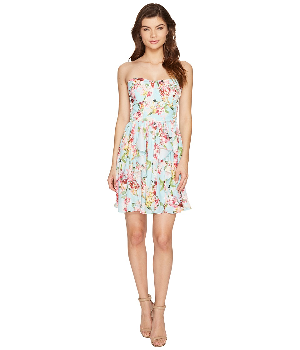Adelyn Rae - Valerie Woven Printed Strapless Dress (Aquamarine) Women's Dress