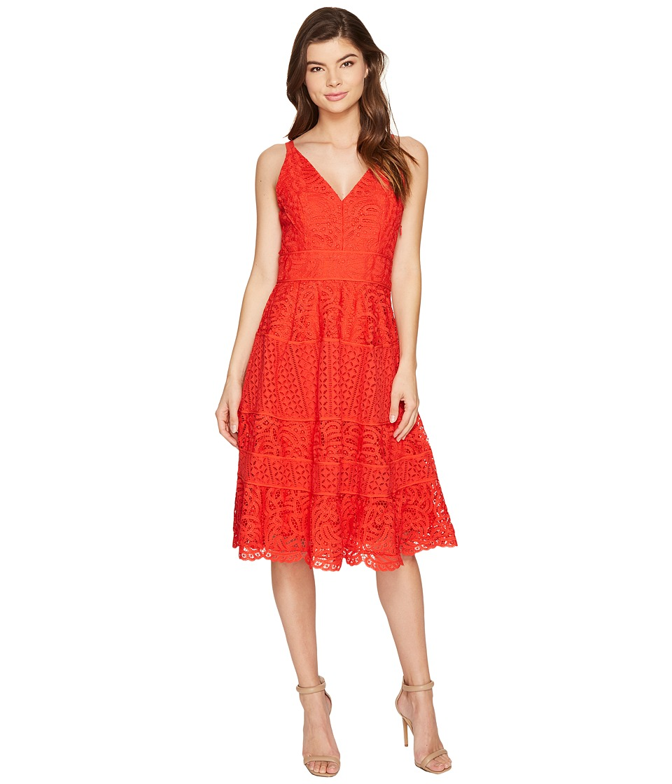 Adelyn Rae - Laureen Woven Lace Midi Fit and Flare (Red) Women's Dress