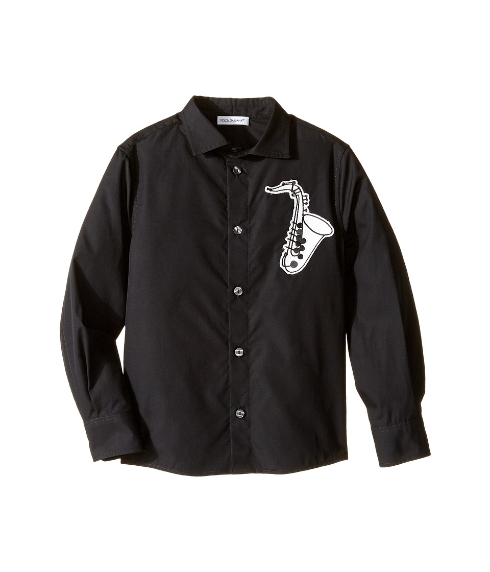 Dolce & Gabbana Kids - Saxophone Button Up (Toddler/Little Kids) (Black) Boy's Long Sleeve Button Up