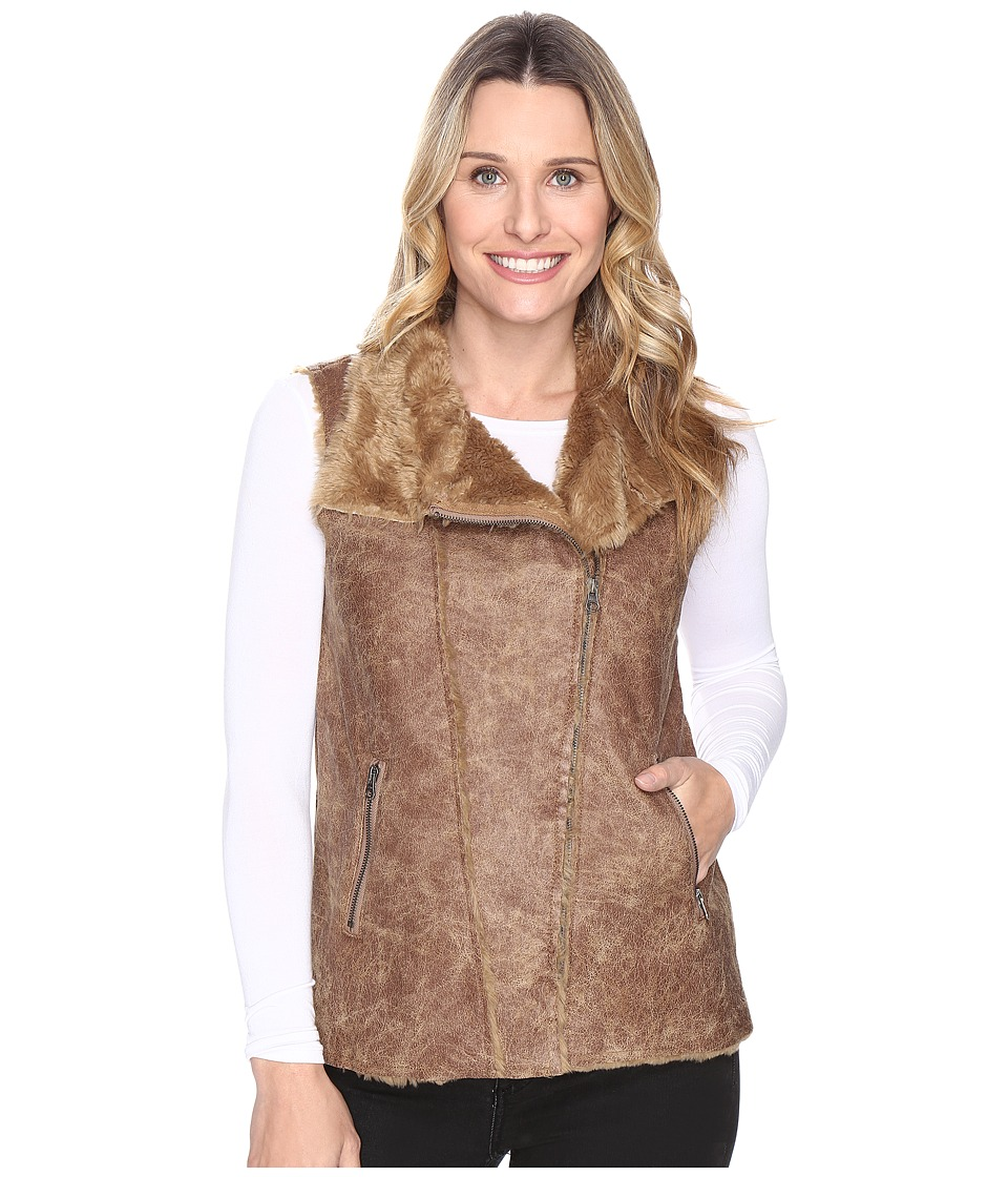 Dylan by True Grit - Easy Rider Vintage Faux Shearling Enzyme Washed Motor Vest (Buckskin) Women's Vest