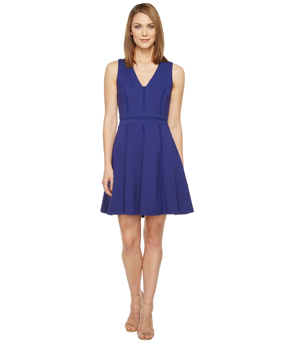 Adelyn Rae Pauline Knit Ponte Fit and Flare (Bright Navy) Women