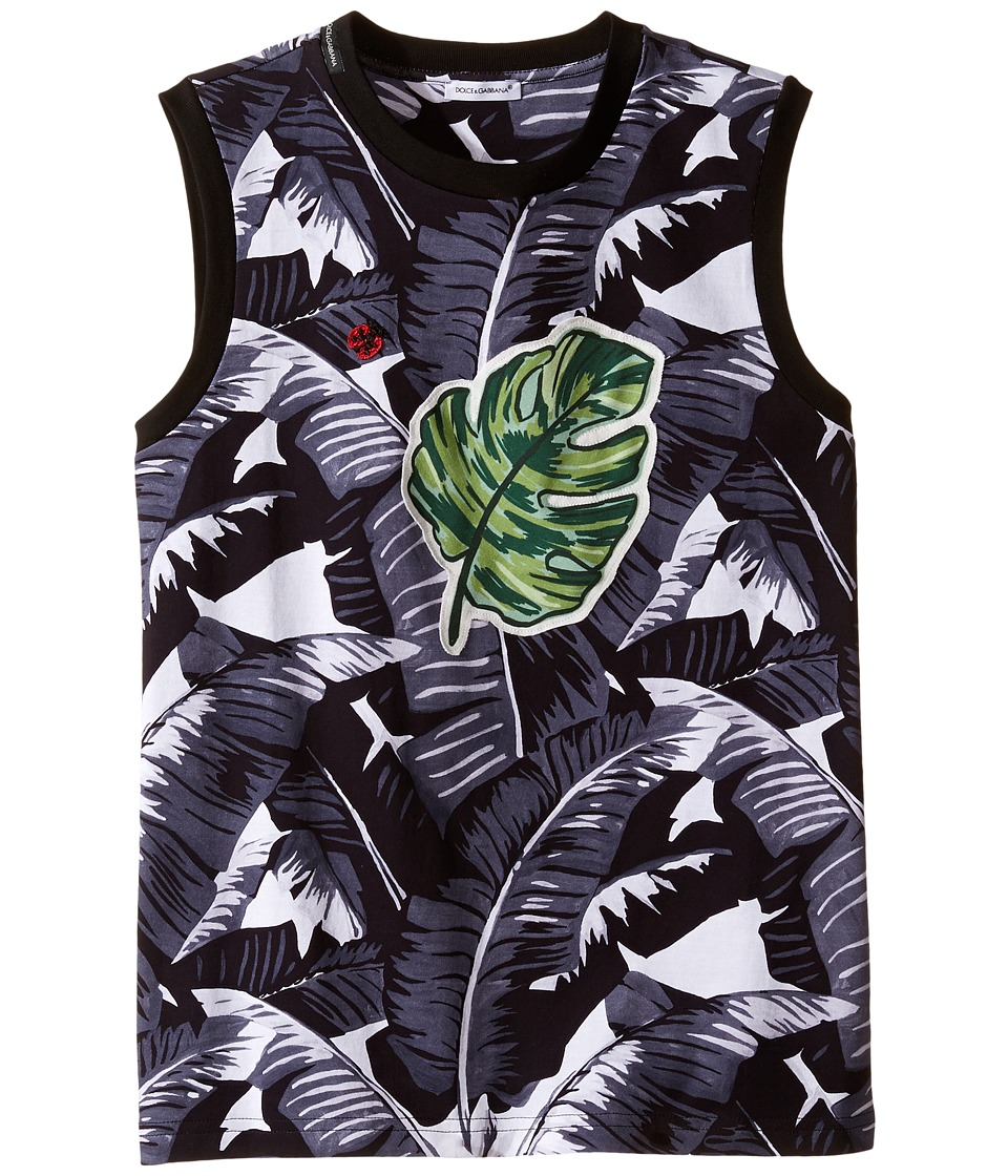 Dolce & Gabbana Kids - Banana Leaf Sleeveless T-Shirt (Big Kids) (Black) Boy's T Shirt