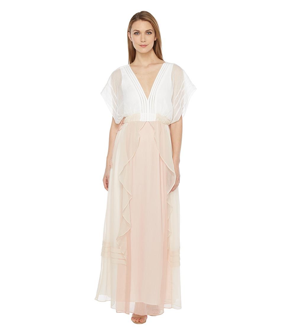 Adelyn Rae Helene Woven Maxi Dress (Ivory/Taupe) Women
