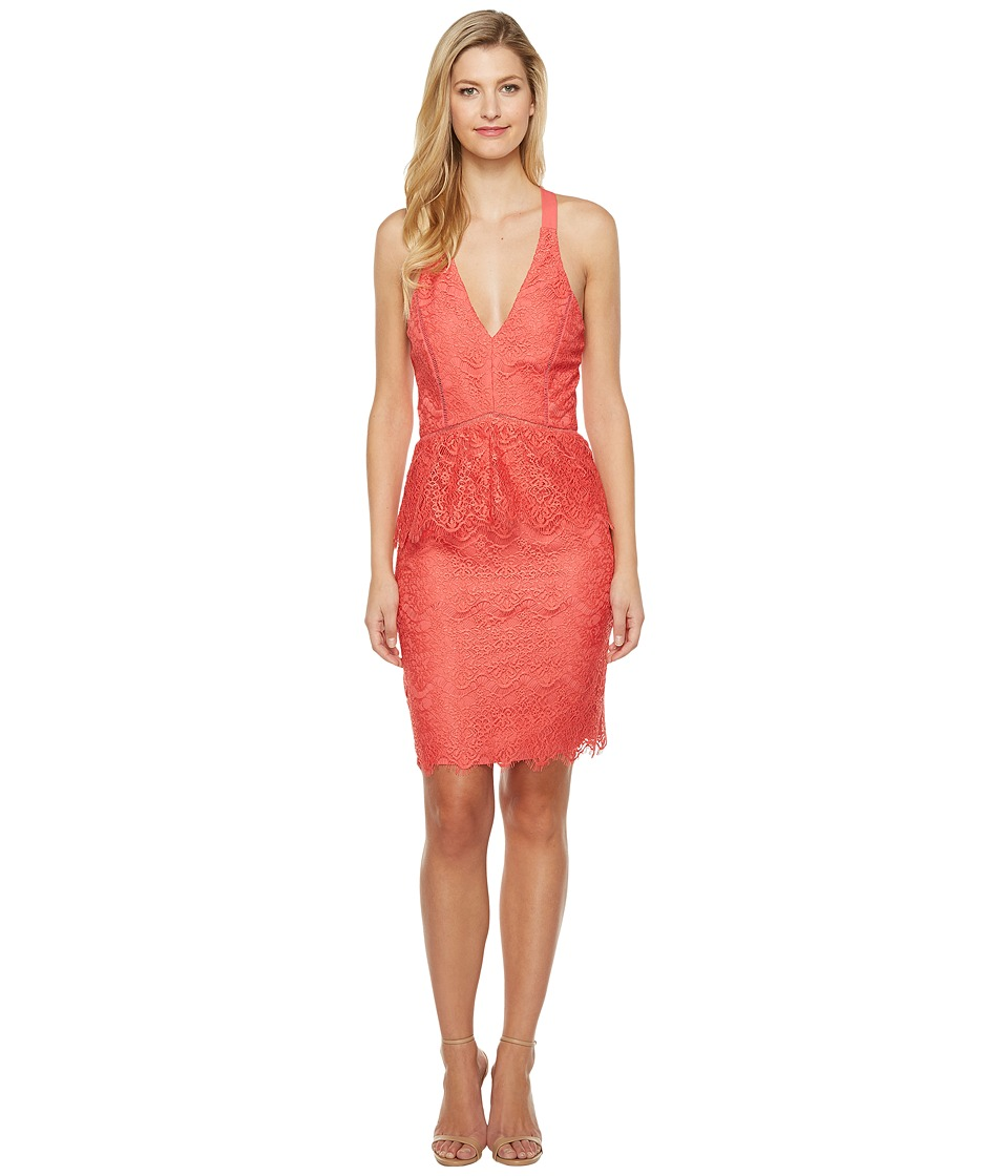 Adelyn Rae - Suzanne Woven Lace Peplum Bodycon (Coral) Women's Dress
