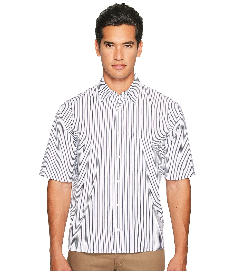 Vince - Deep Pleat Boxy Fit Short Sleeve Pinstripe Button Up (Navy) Men's Short Sleeve Button Up