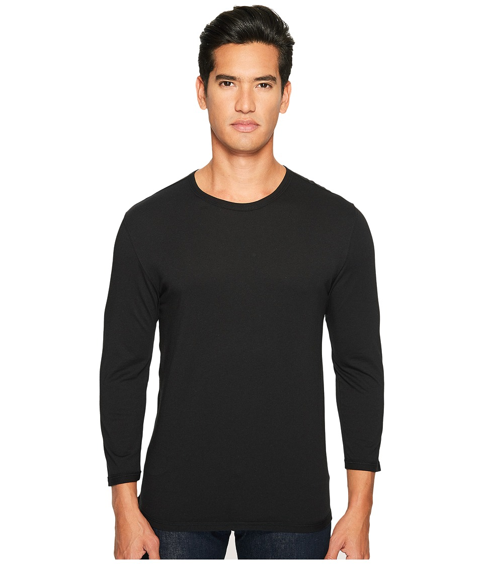 Vince - Reverse Hem Cotton-Modal 3/4 Sleeve Crew (Black) Men's T Shirt