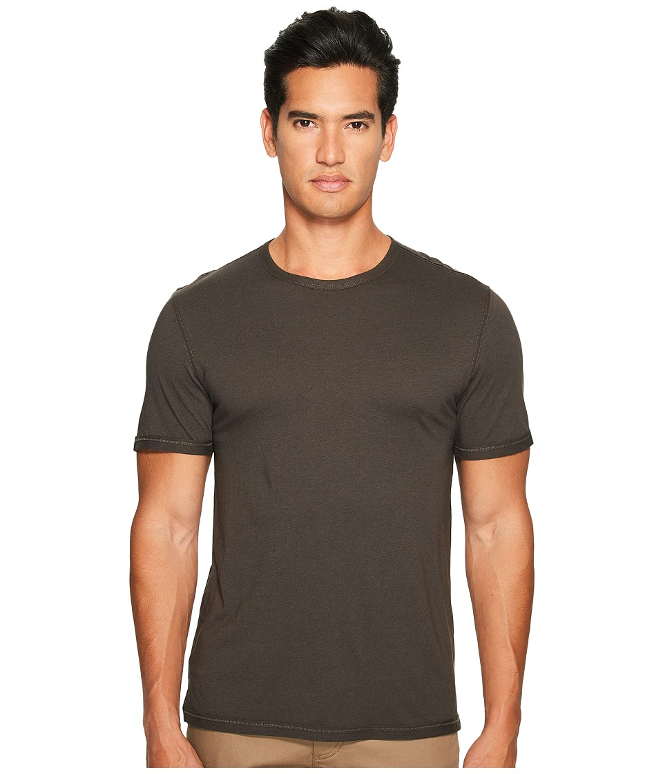 Vince - Reverse Hem Cotton-Modal Short Sleeve Crew (Sulphur Black) Men's T Shirt