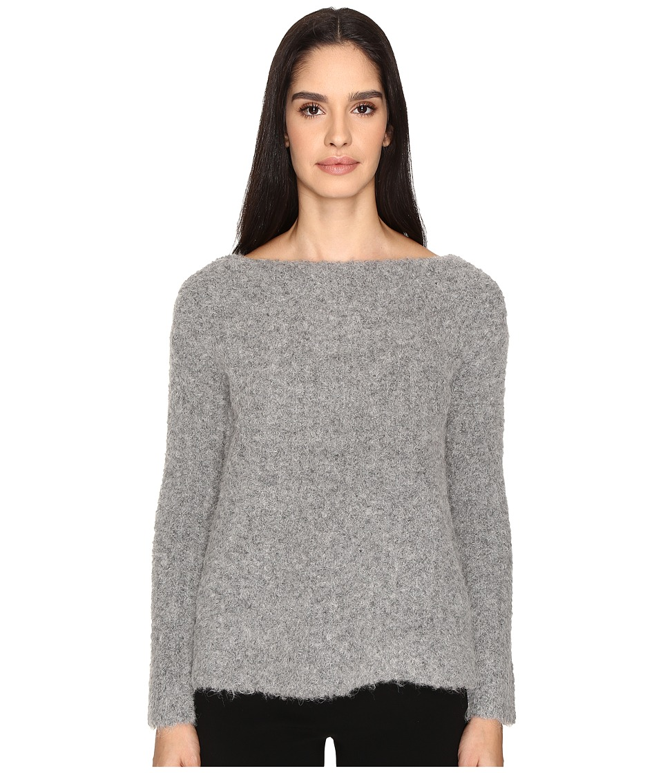 ATM Anthony Thomas Melillo - Cozy Open Neck Pullover (Heather Grey) Women's Long Sleeve Pullover