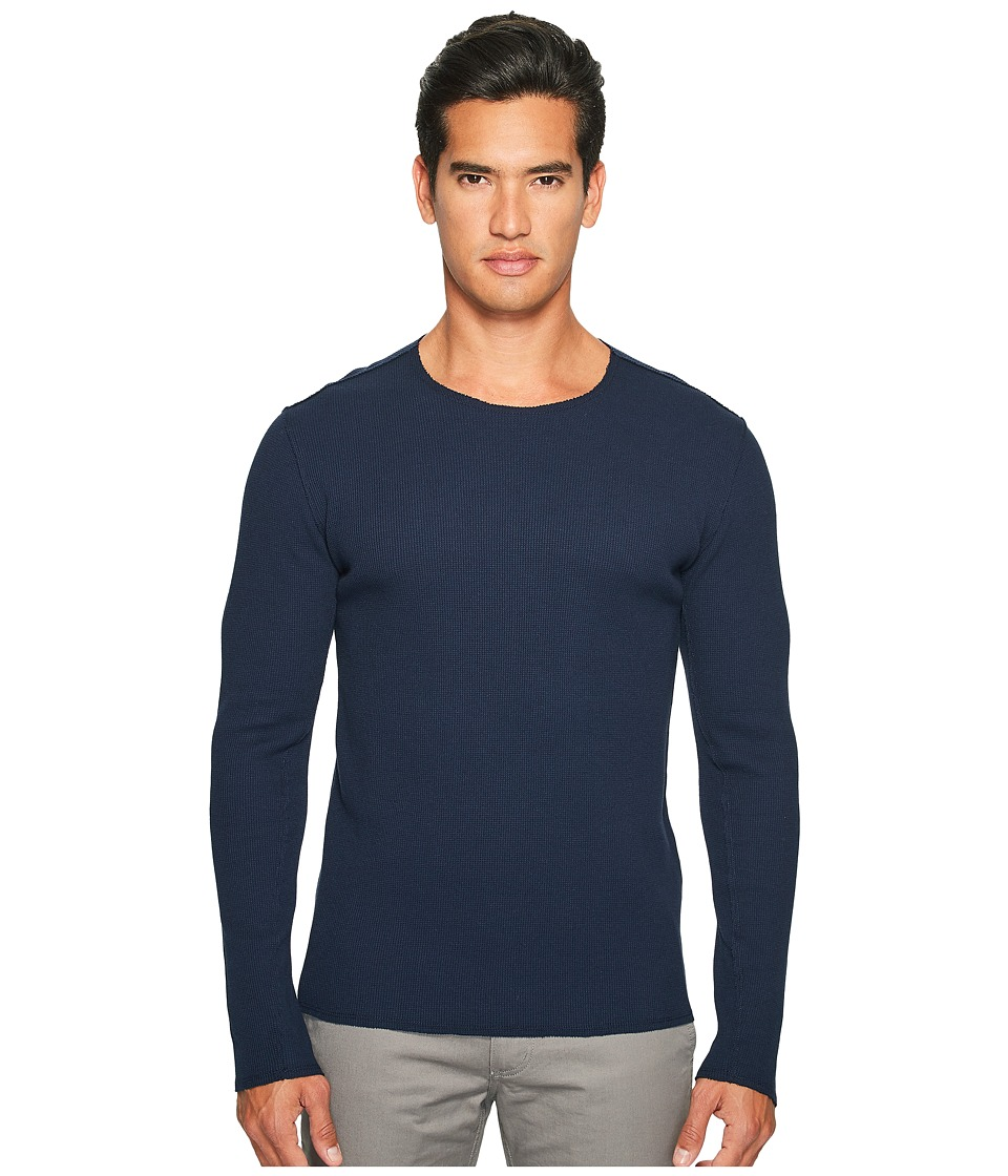 Vince - Raw Edge Solid Long Sleeve T-Shirt (Coastal) Men's T Shirt