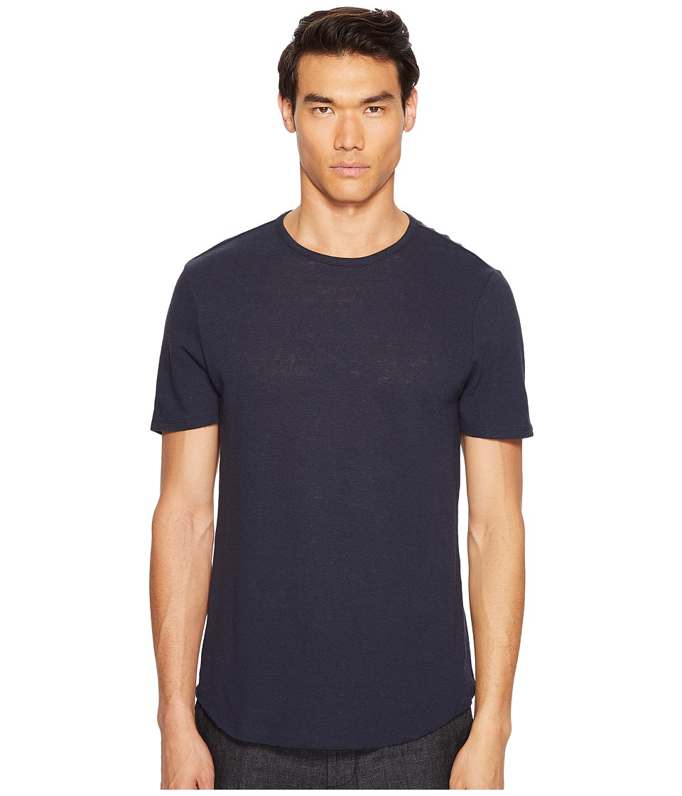 Vince - Raw Hem Short Sleeve Linen Blend Crew Neck T-Shirt (Coastal) Men's T Shirt