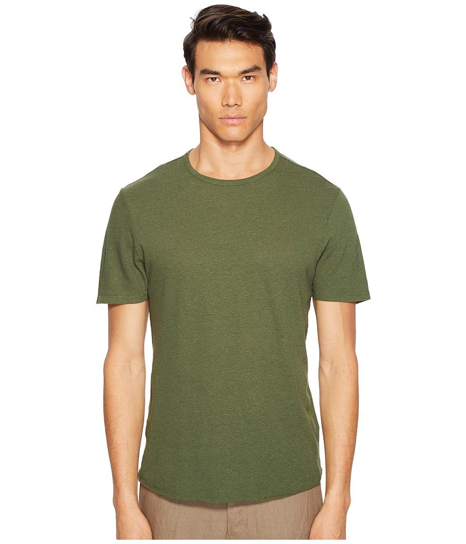Vince - Raw Hem Short Sleeve Linen Blend Crew Neck T-Shirt (Ivy) Men's T Shirt