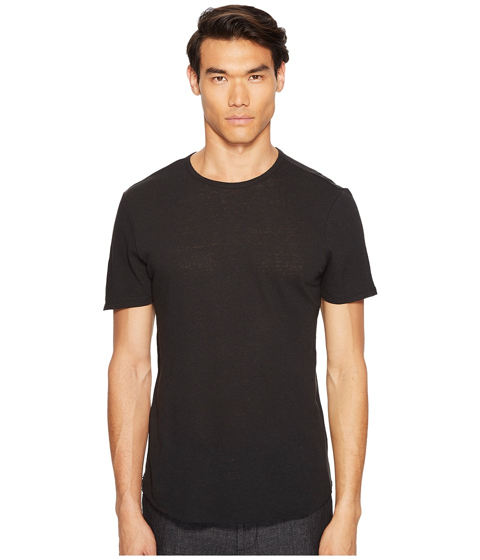 Vince - Raw Hem Short Sleeve Linen Blend Crew Neck T-Shirt (Black) Men's T Shirt