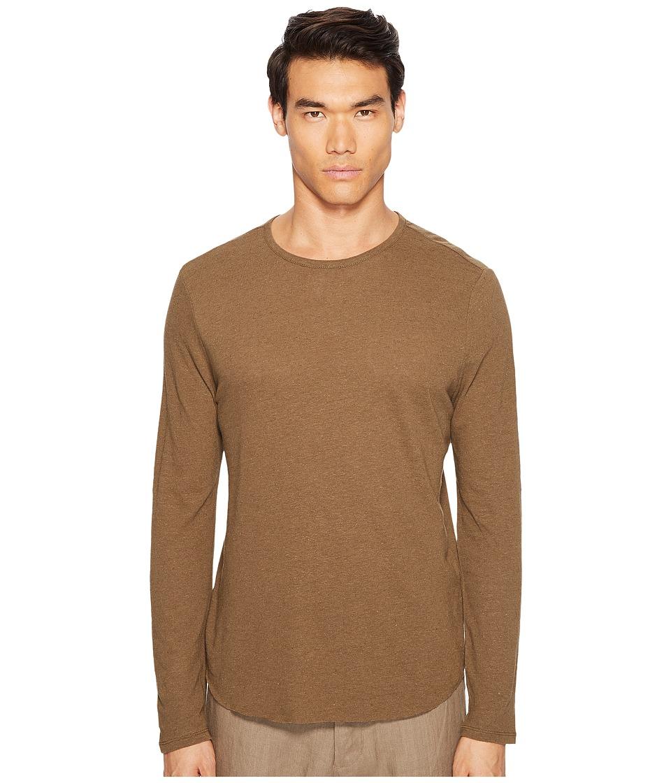 Vince - Raw Hem Long Sleeve Linen Blend Crew Neck T-Shirt (Tobacco) Men's T Shirt