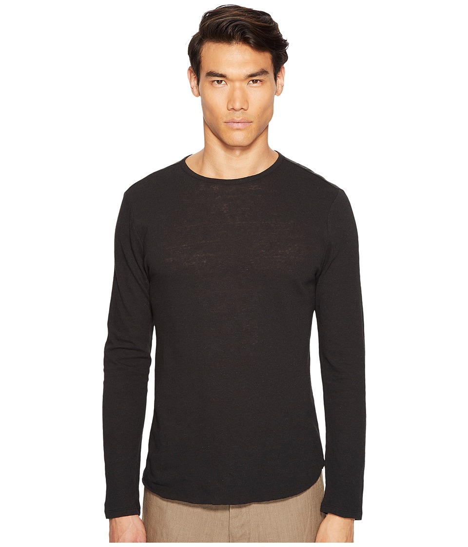 Vince - Raw Hem Long Sleeve Linen Blend Crew Neck T-Shirt (Black) Men's T Shirt