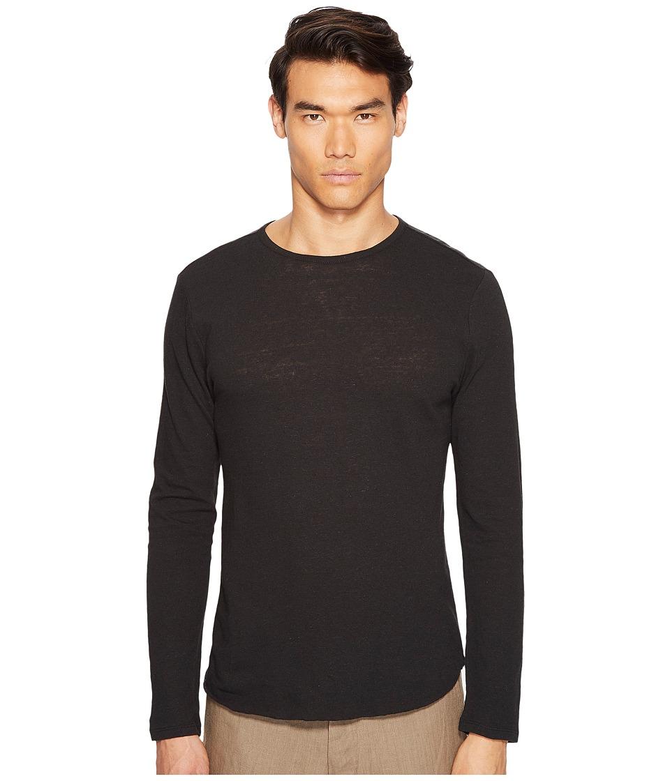 Vince - Raw Hem Long Sleeve Linen Blend Crew Neck T-Shirt (Black) Men's T Shirt
