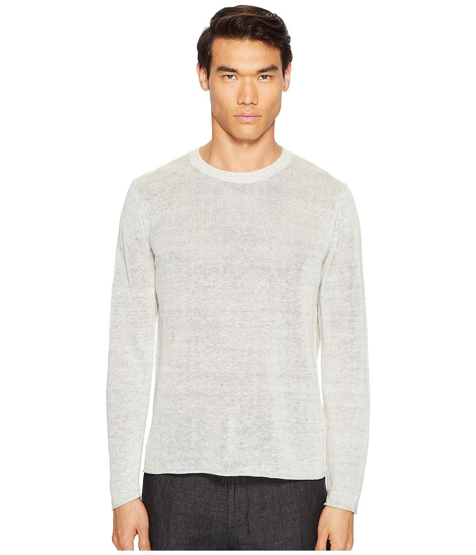 Vince - Raw Edge Long Sleeve Crew Neck Sweater (Heather Steel) Men's Sweater