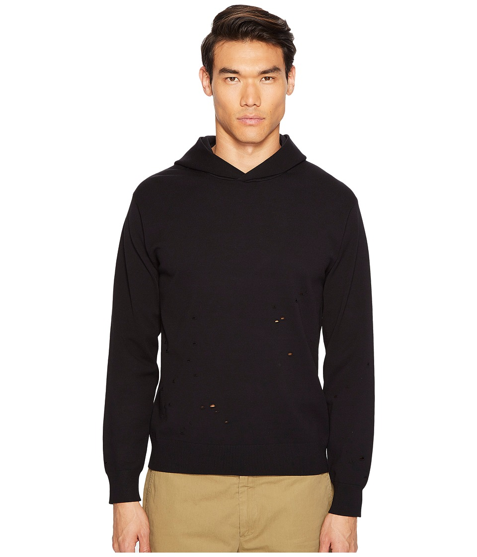 Vince - Distressed Long Sleeve Hoodie (Black) Men's Sweatshirt