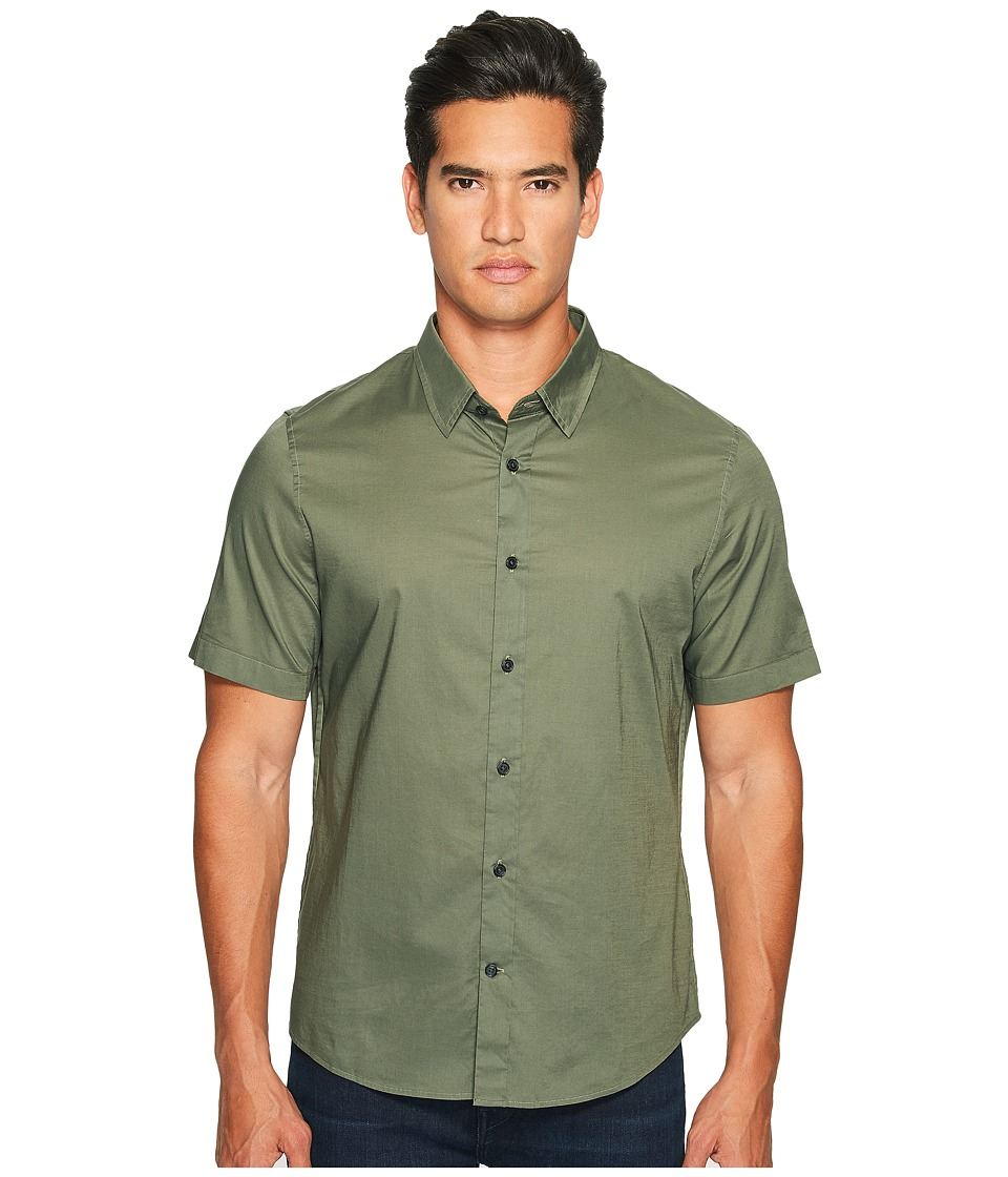 Vince - Reverse Placket Short Sleeve Voile Shirt (Ivy) Men's Short Sleeve Button Up