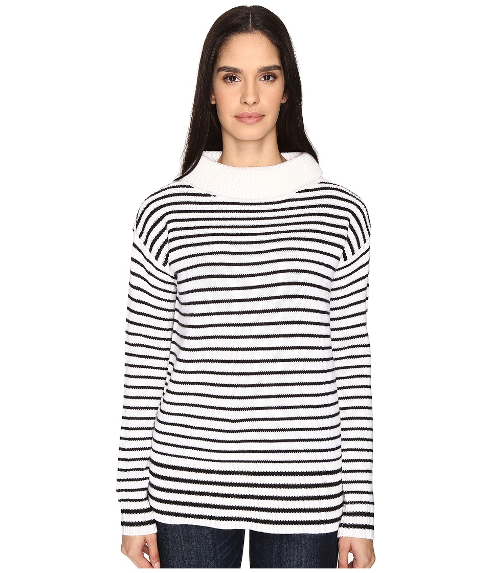 ATM Anthony Thomas Melillo - Roll Neck Cozy Sweater (White/Black Stripe) Women's Sweater