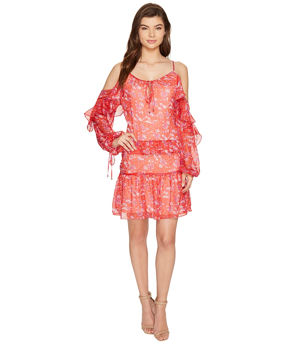 Adelyn Rae - Kaileen Woven Printed Frill Shirtdress (Red Orange) Women's Dress
