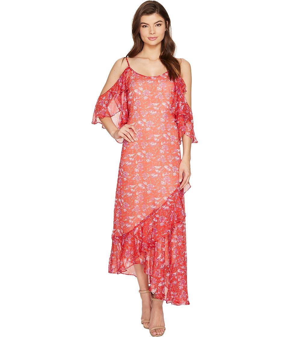 Adelyn Rae - Kaileen Woven Printed Frill Slip Dress (Red Orange) Women's Dress