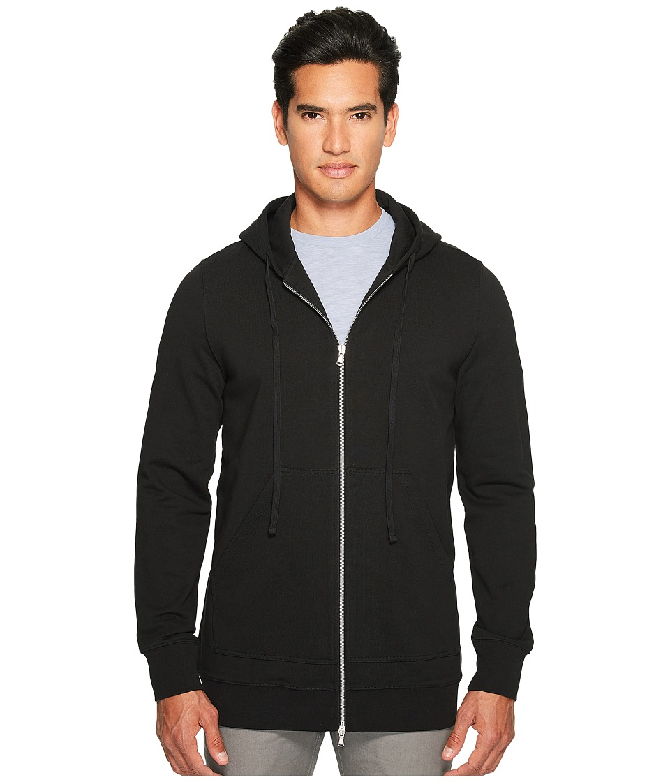 Vince - Long Line Zip-Up Hoodie (Black) Men's Sweatshirt