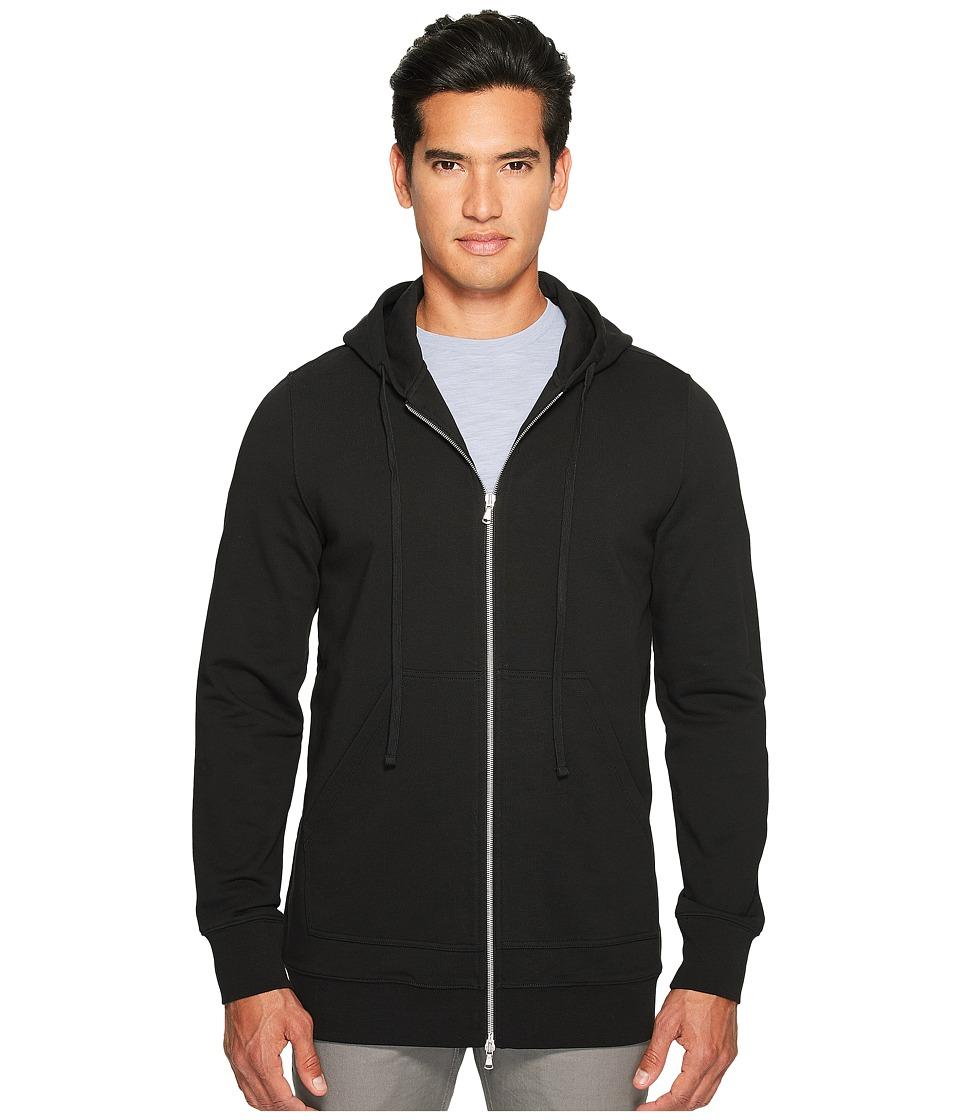 Vince - Long Line Zip-Up Hoodie (Black) Men's Sweatshirt