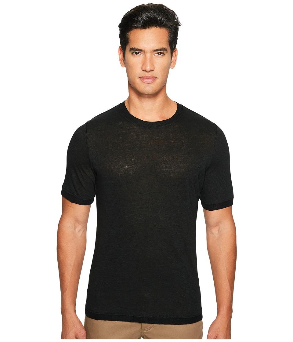 Vince - Linen Short Sleeve Crew Neck Trimmed Sweater (Black) Men's Sweater