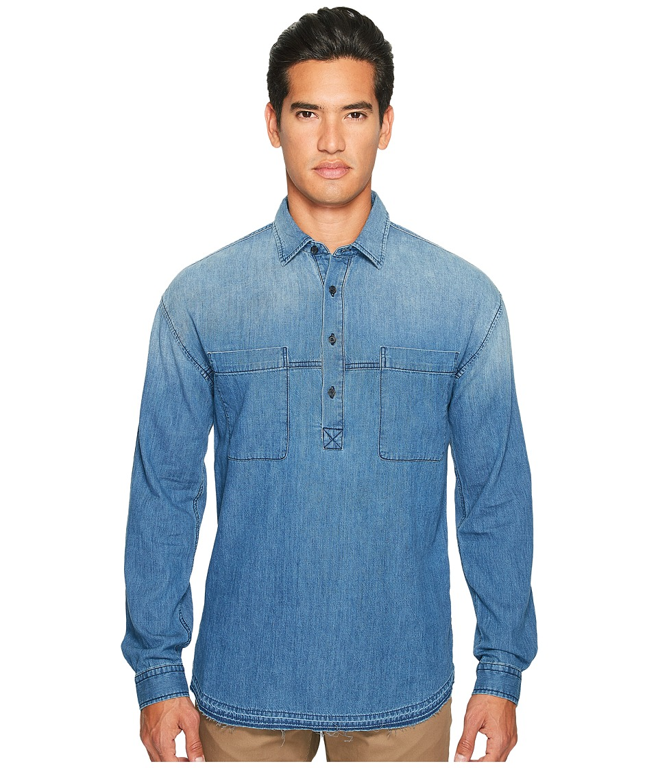 Vince - Denim 1/2 Placket Pullover Shirt (Medium Wash) Men's Clothing