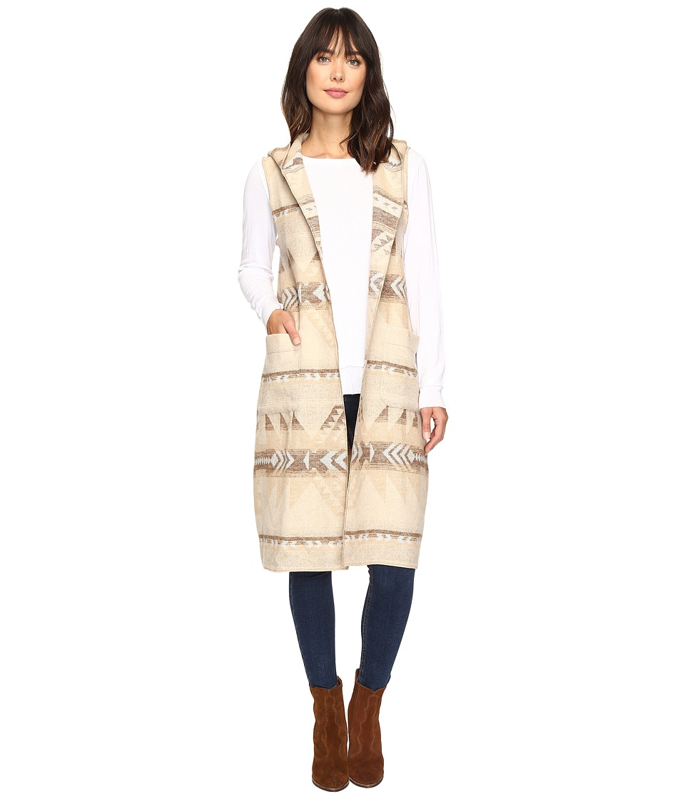 Dylan by True Grit - Beacon Blanket Long Vest with Hood (Natural/Chambray) Women's Vest