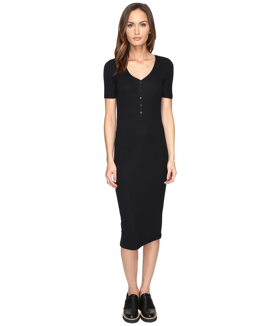 ATM Anthony Thomas Melillo - V-Neck Henley Dress (Black) Women's Dress