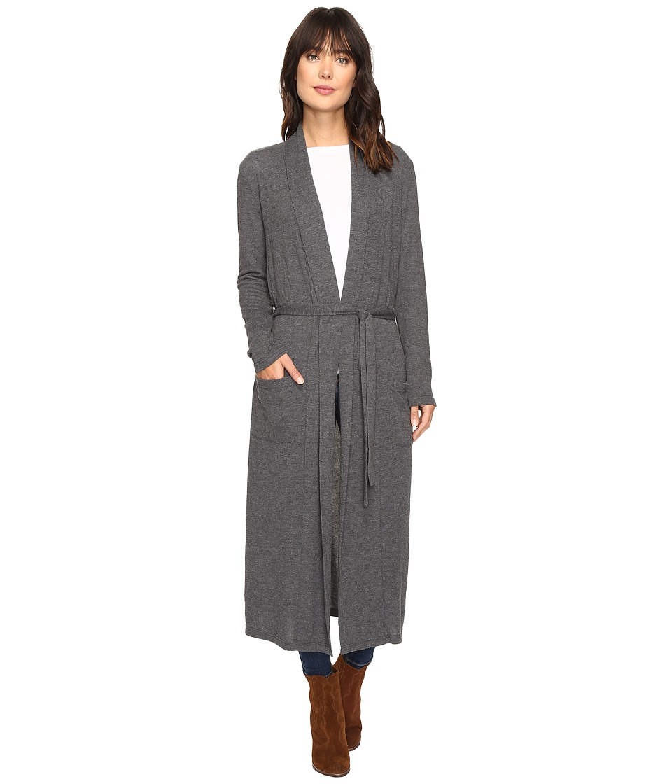Dylan by True Grit - Glam Softest Fleece Maxi Cardi with Tie Belt (Soft Black) Women's Sweater