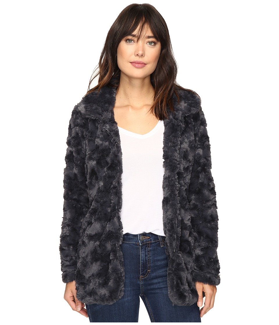 Dylan by True Grit - Silky Faux Fur Classic Coat with Fur Lining (Vintage Black) Women's Coat