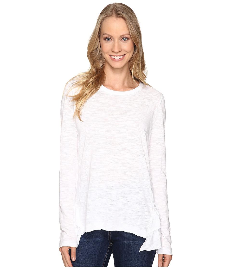 Dylan by True Grit - Soft Heather Slub Long Sleeve Ruffle Back Tee (White) Women's T Shirt
