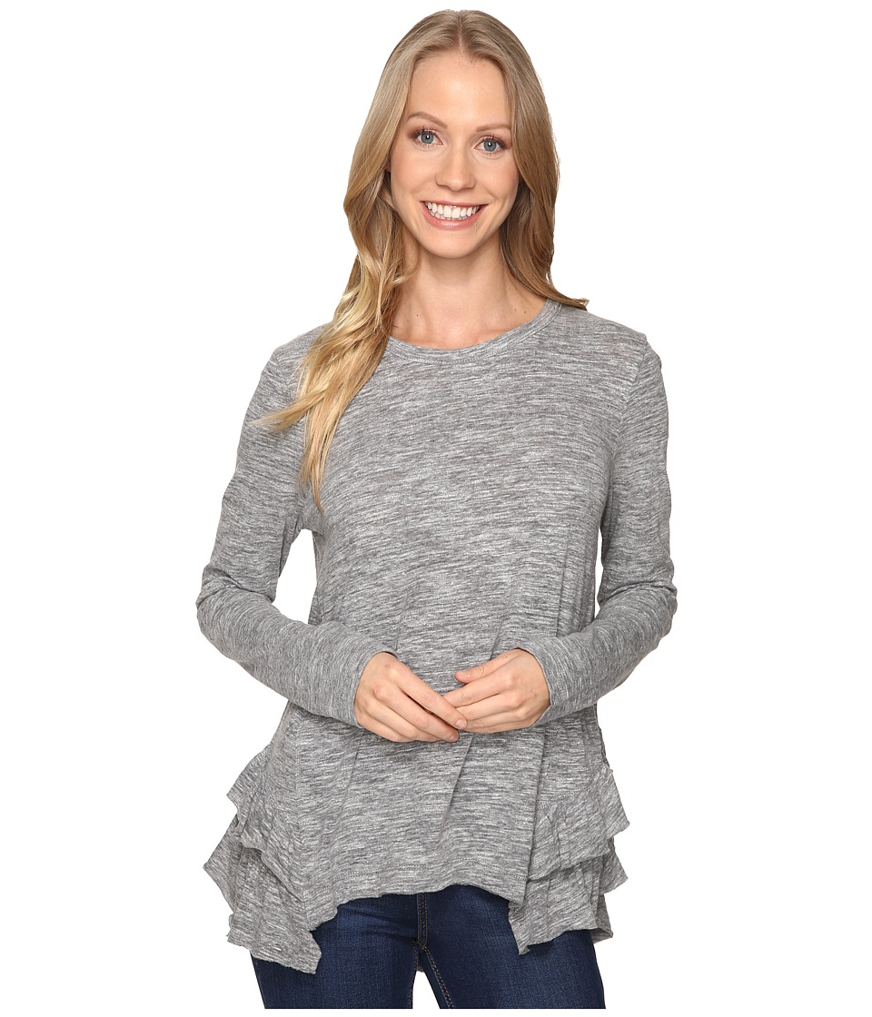 Dylan by True Grit - Soft Heather Slub Long Sleeve Ruffle Back Tee (Heather) Women's T Shirt