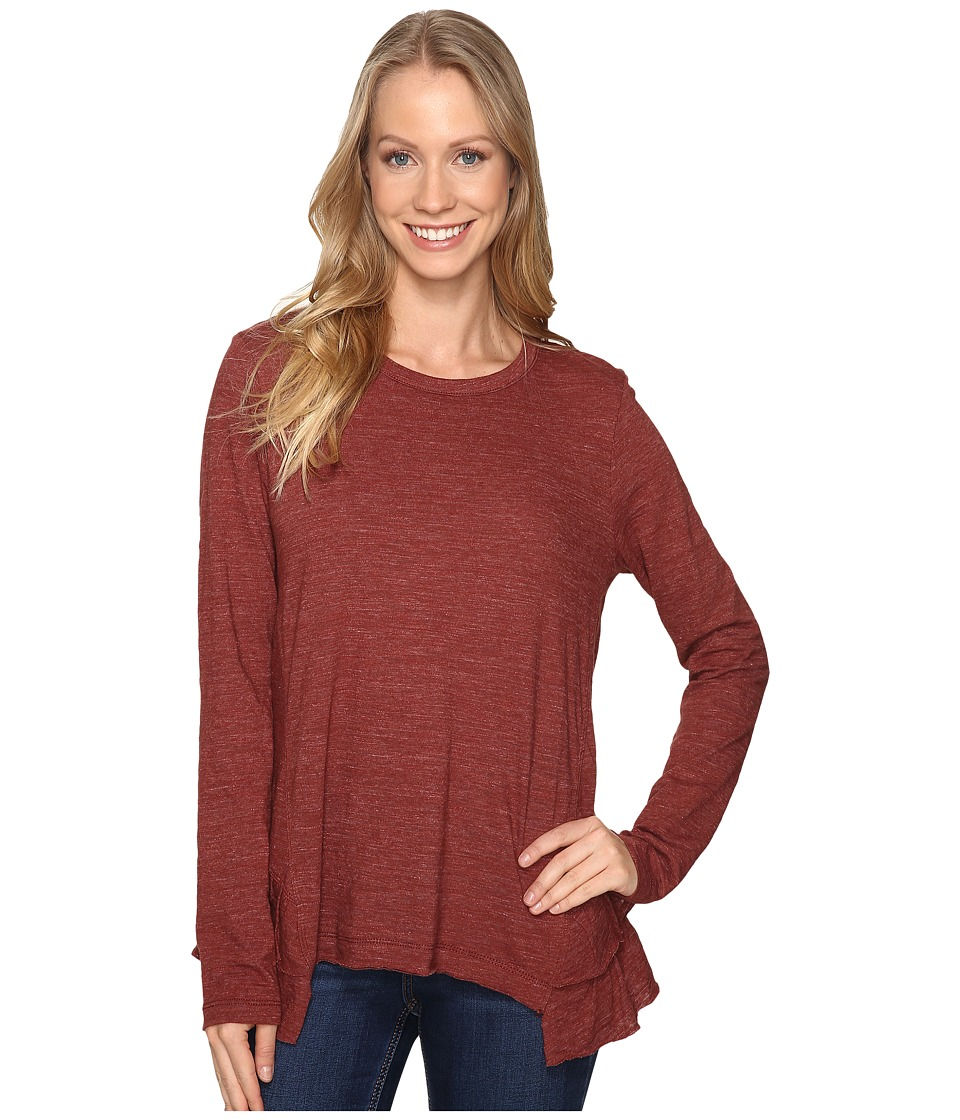 Dylan by True Grit - Soft Heather Slub Long Sleeve Ruffle Back Tee (Rust) Women's T Shirt