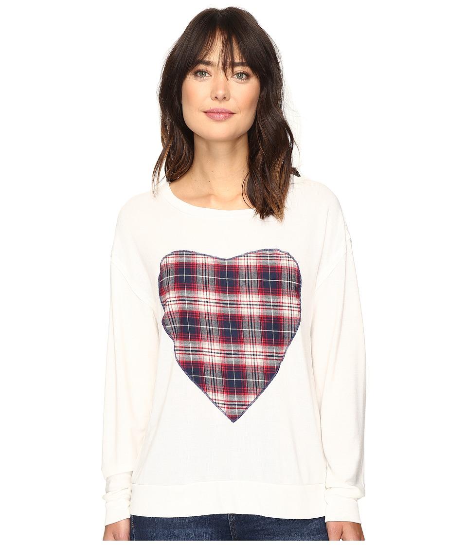 Dylan by True Grit - Glam Softest Fleece Love Sweatshirt with Plaid Heart (Chalk/Grey Heart) Women's Sweatshirt