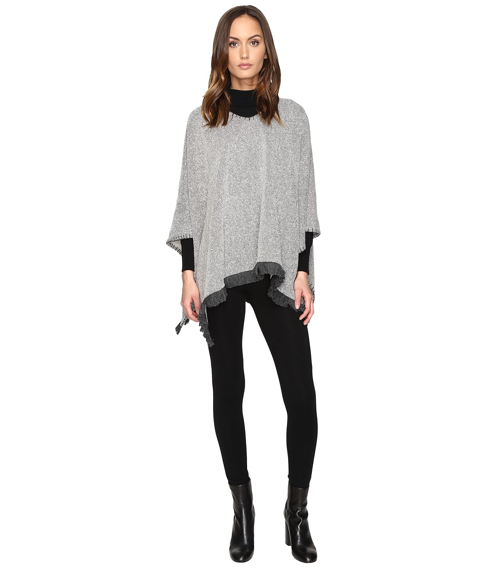 ATM Anthony Thomas Melillo - Poncho w/ Blanket Stitch (Grey Natural Combo) Women's Clothing