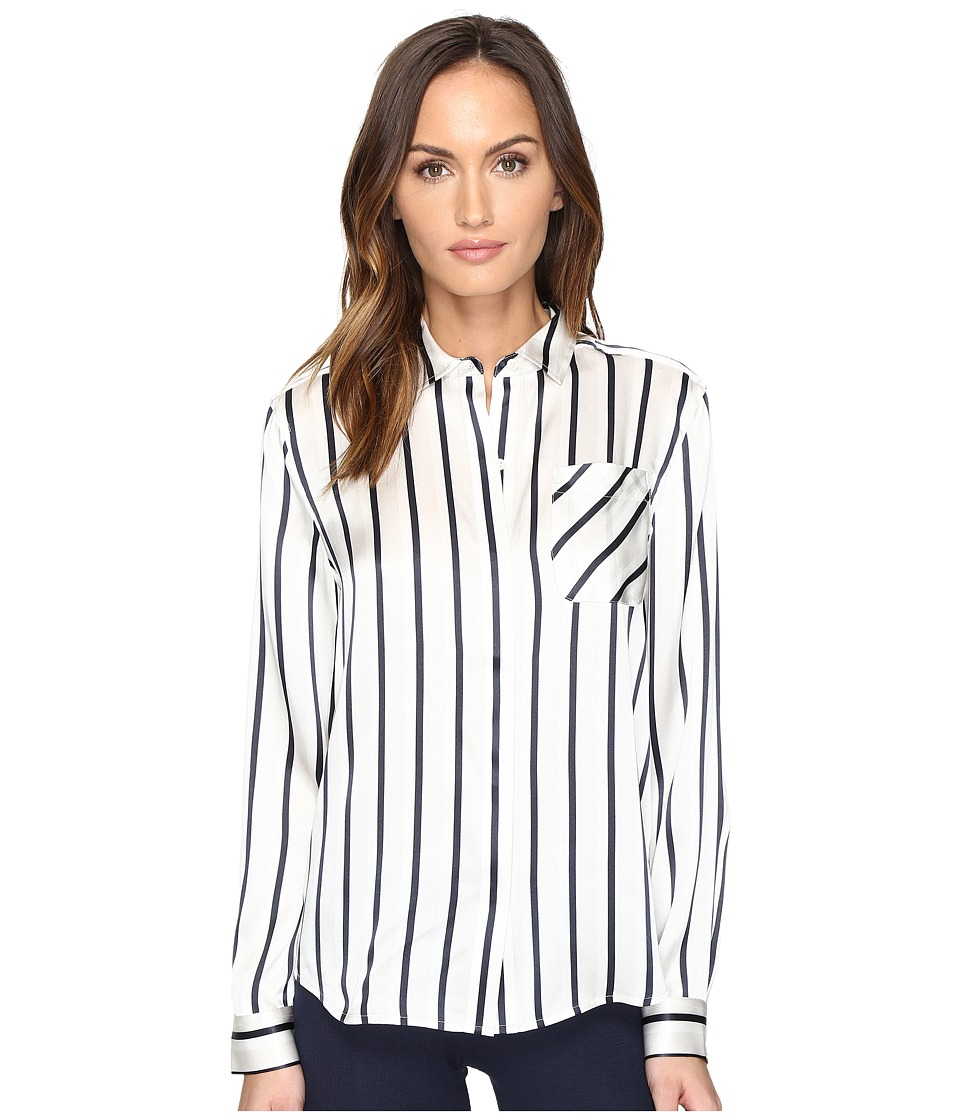 ATM Anthony Thomas Melillo - Striped Shirt with Pocket (Silver/Midnight/White) Women's Clothing