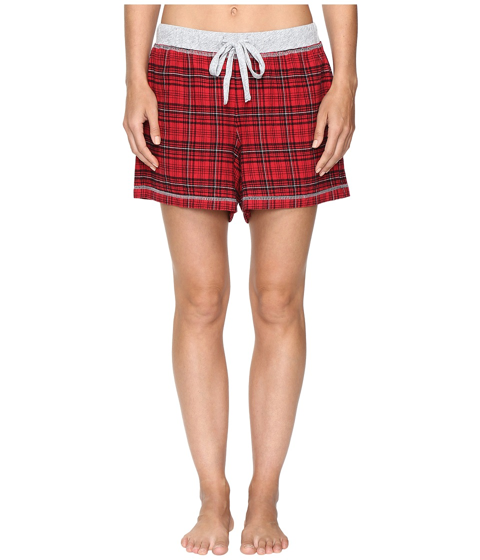 Dylan by True Grit - Whisky Check Cotton Yarn-Dye Flannel Shorts with Drawstring (Red) Women's Pajama