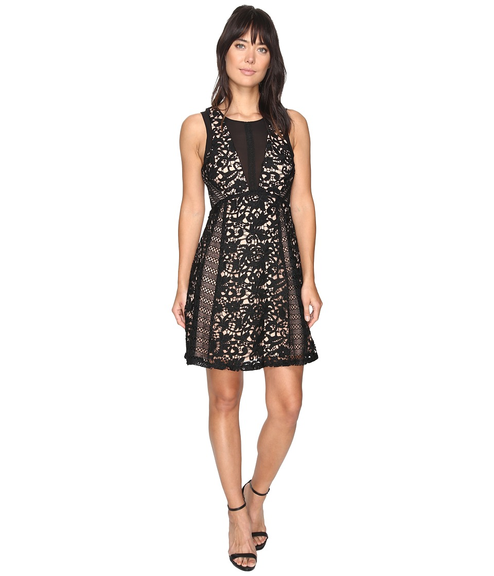 Adelyn Rae Loretta Woven Lace Fit and Flare Dress (Black/Nude) Women