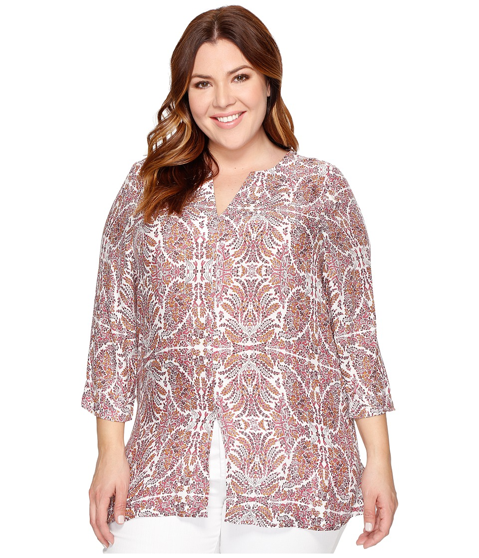 B Collection by Bobeau Curvy - Plus Size Hadil Woven Kaftan (Leafy Print) Women's Long Sleeve Button Up