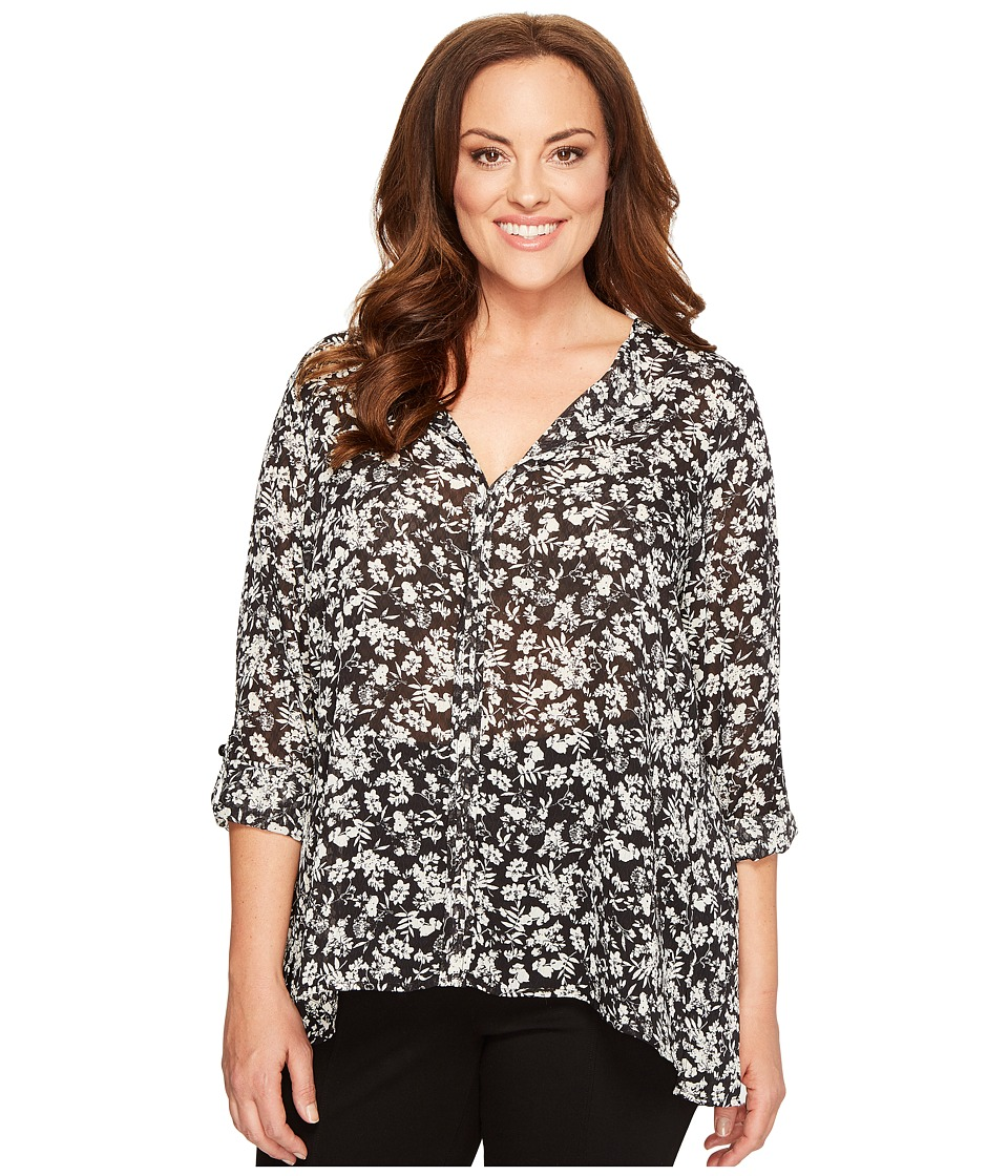 B Collection by Bobeau Curvy - Plus Size Cristy Pleat Back Blouse (Black) Women's Blouse