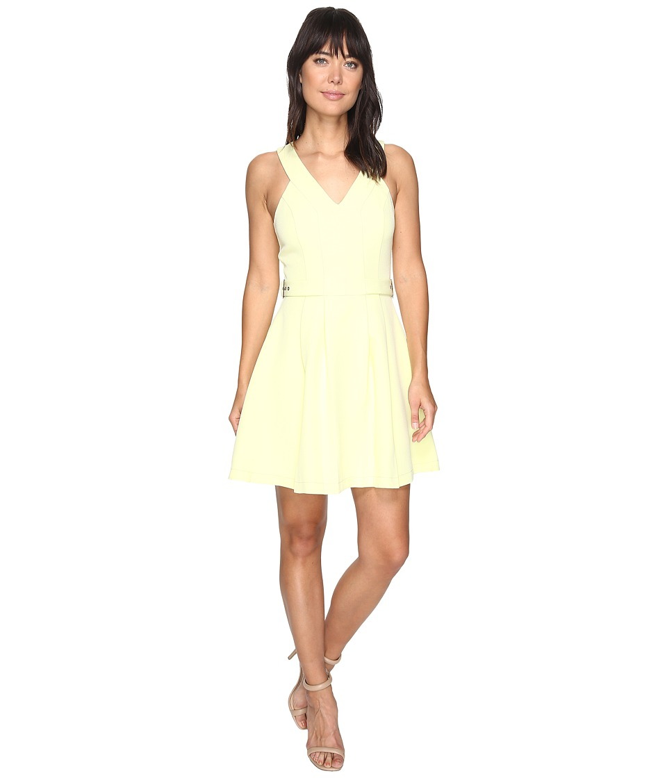 Adelyn Rae Andrea Woven Fit and Flare Dress (Light Yellow) Women