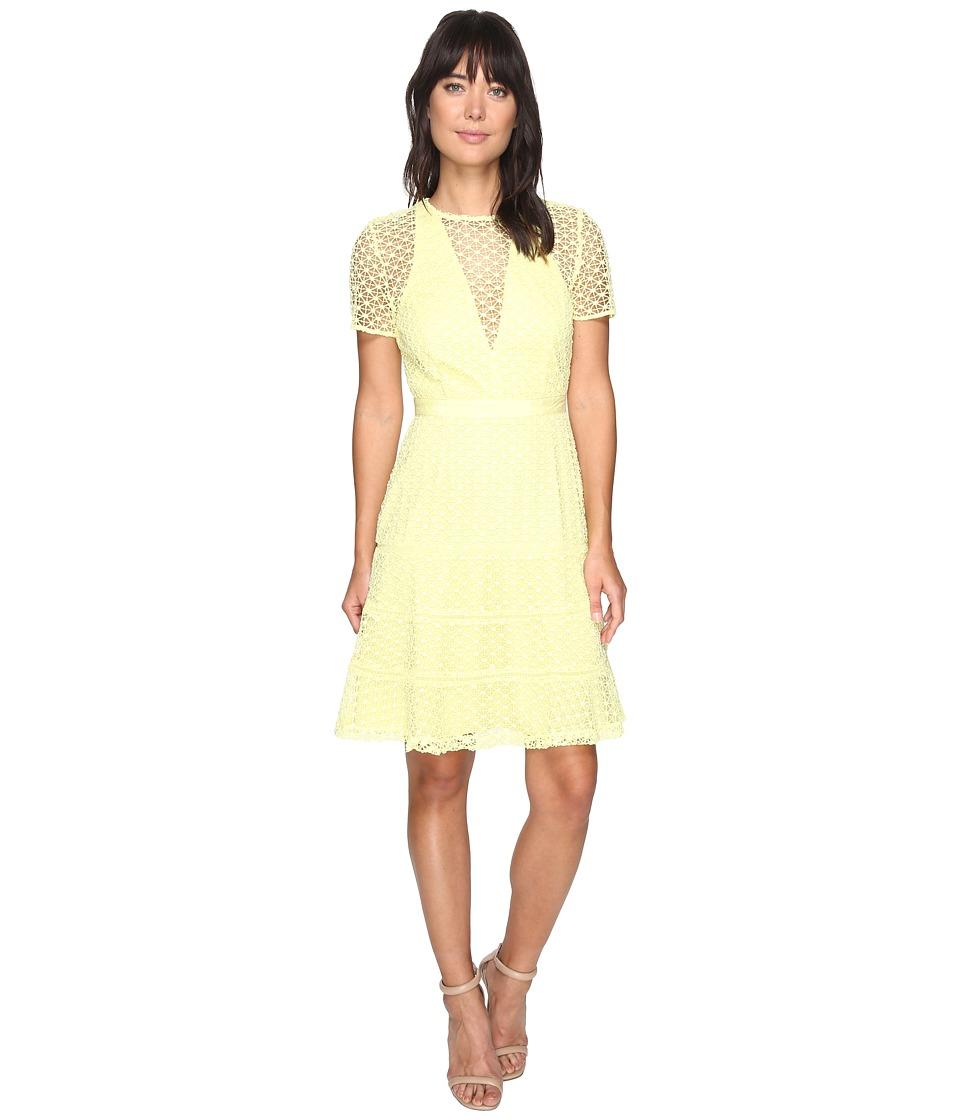 Adelyn Rae Carol Woven Lace Trumpet Dress (Light Yellow) Women