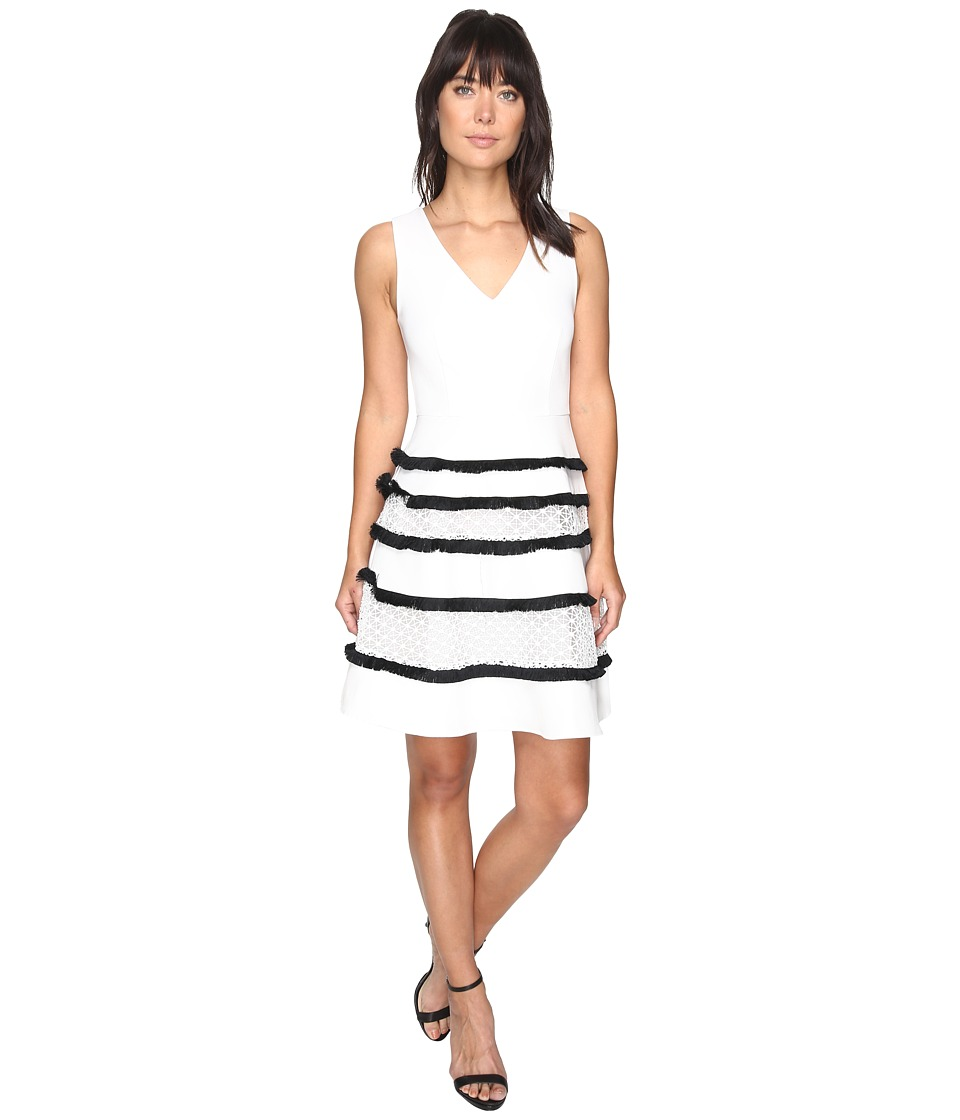 Adelyn Rae Carol Woven Lace Fringe Fit and Flare Dress (White) Women