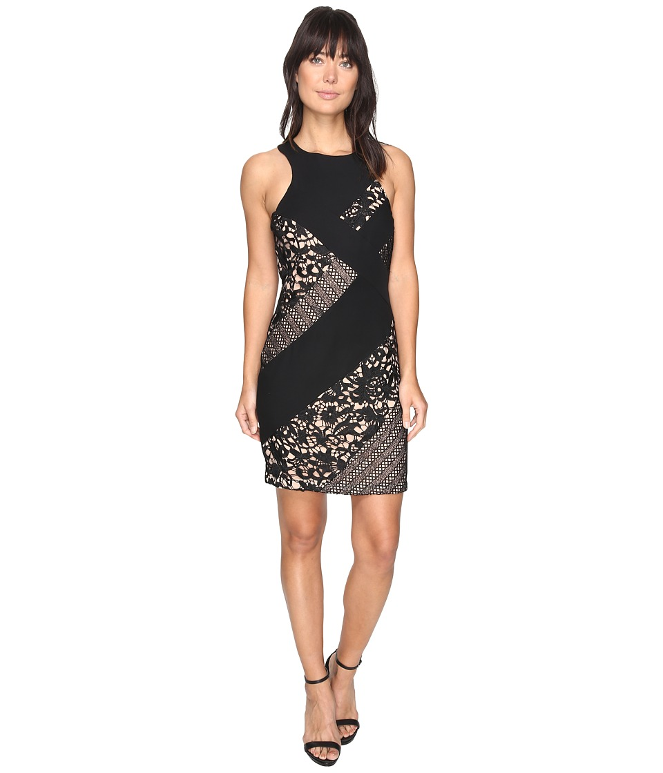 Adelyn Rae - Loretta Woven Lace Bodycon Dress (Black/Nude) Women's Dress