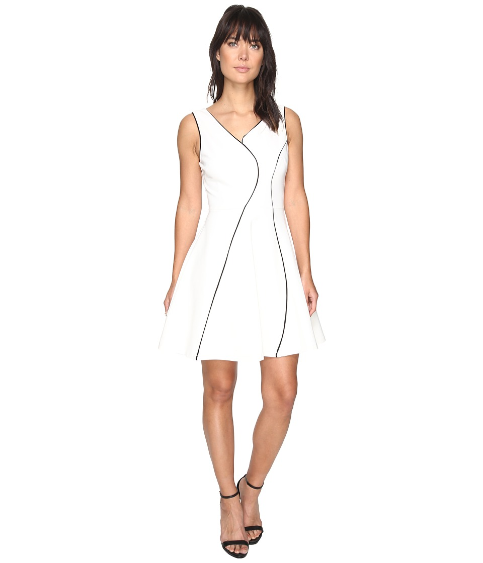 Adelyn Rae Linsey Knit Ponte Fit and Flare Dress (White/Black) Women