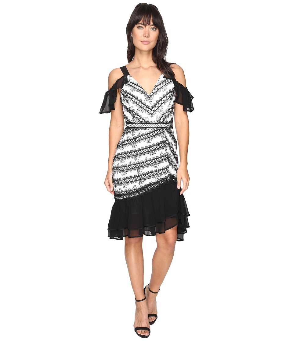 Adelyn Rae - Nola Woven Lace Frill Dress (White/Black) Women's Dress