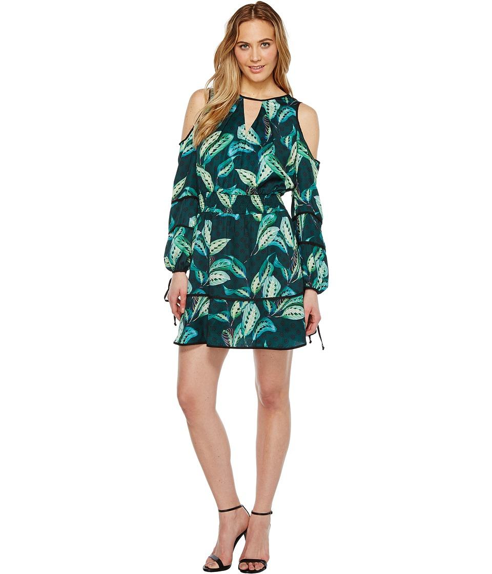 Adelyn Rae - Havana Woven Printed Shirtdress (Green) Women's Dress